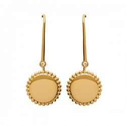 Boucles d'oreilles en plaqué or 18 carats pendants ronds travaillés