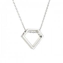 Collier argent 925/000 pendentif forme diamant sur chaine ras de cou 38 cm