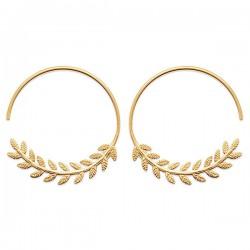 Boucles d'oreilles créoles épis de blé Plaqué Or 18 carats