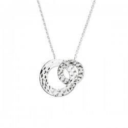 Collier anneaux cercles entrelacés martelés argent massif 925/000 rhodié