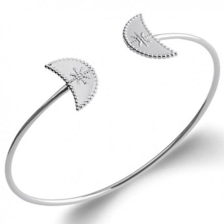 Bracelet jonc en argent massif 925/000 rhodié Design tendance