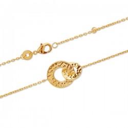 Bracelet anneaux entrelacés Plaqué Or 18 carats effet martelé