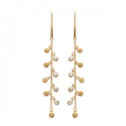 Boucles d'oreilles pampilles Plaqué Or 18 carats et zirconium
