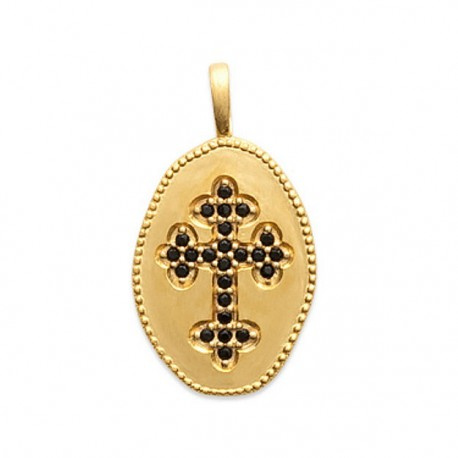 Pendentif médaille croix plaqué or 18 carats et pierres noires