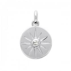 Pendentif médaille étoile argent massif 925/000 rhodié et zirconium