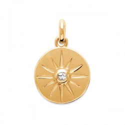 Pendentif médaille étoile Plaqué Or 18 carats et zirconium