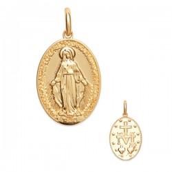 Pendentif médaille Vierge Marie Plaqué Or 18 carats décor 2 faces