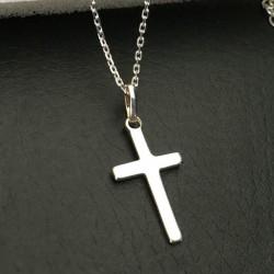 Collier pendentif croix minimaliste argent 925/000 sur chaine ajustable