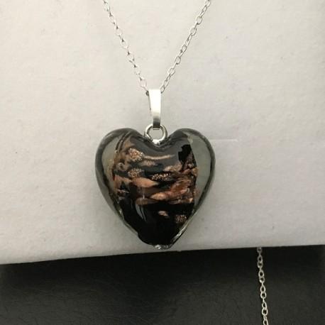 Collier pendentif coeur en verre de murano et argent 925/000