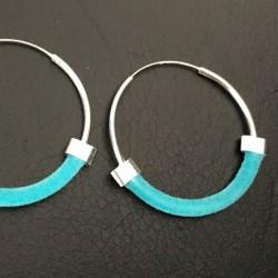 Boucles d'oreilles turquoise créoles argent 925/000 originales