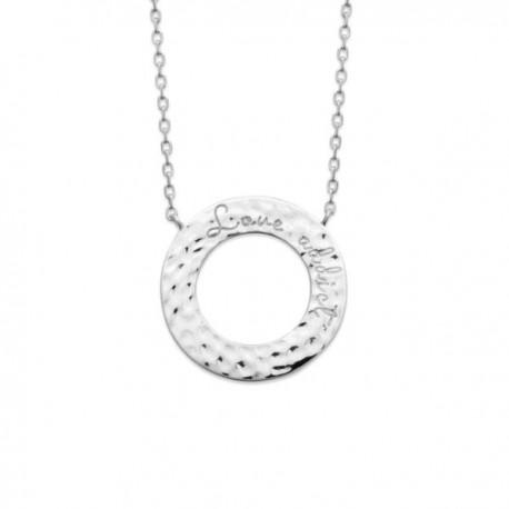 Collier anneau cercle argent massif 925/000 rhodié effet martelé