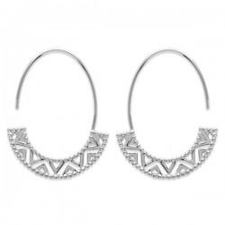 Boucles d'oreilles créoles ovales style ethnique argent massif 925/000