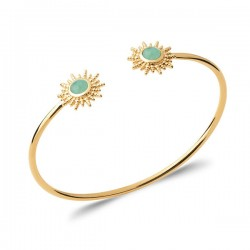 Bracelet jonc soleil Plaqué Or 18 carats pierre naturelle aventurine