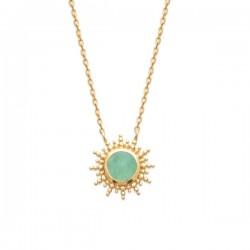 Collier pendentif soleil Plaqué Or 18 carats pierre naturelle aventurine