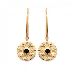 Boucles d'oreilles pendantes style antique Plaqué Or 18 carats pierre noire