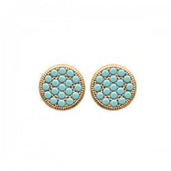 Boucles d'oreilles puces rondes Plaqué Or 18 carats et pierres turquoise