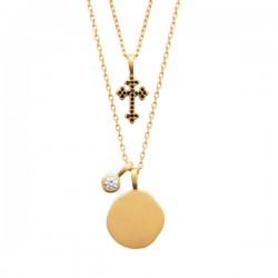 Collier double rangs pendentif croix en plaqué or 18 carats