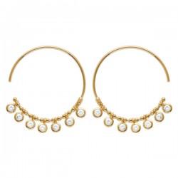 Boucles d'oreilles créoles Plaqué Or 18 carats pampilles zirconium