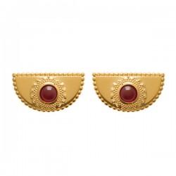 Boucles d'oreilles style ethnique Plaqué Or 18 carats et pierre rouge rubis