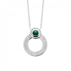 Collier pendentif anneau argent massif 925/000 pierre naturelle malachite
