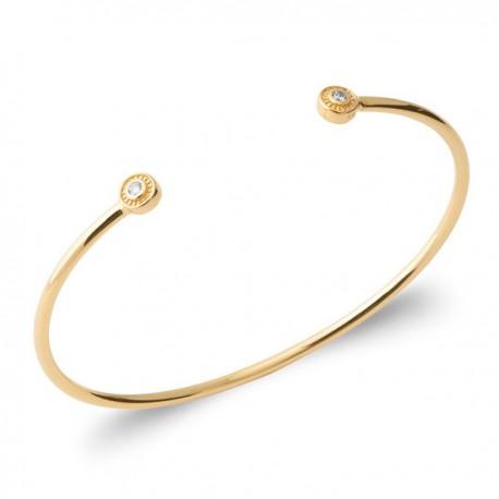Bracelet jonc en plaqué or 18 carats et zirconium diamètre 58 mm