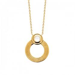 Collier pendentif cercle plaqué or 18 carats et pierre de lune naturelle