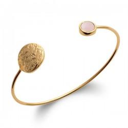 Bracelet jonc Plaqué or 18 carats martelé pierre quartz rose naturelle