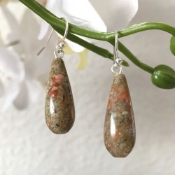 Boucles d'oreilles gouttes pierre narurelle unakite et argent 925/000