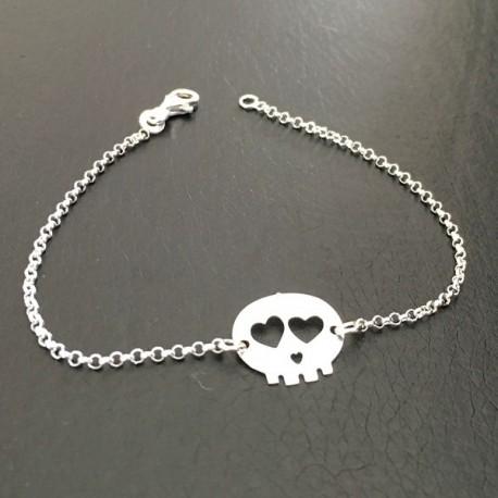 Bracelet crâne tête de mort argent massif 925/000