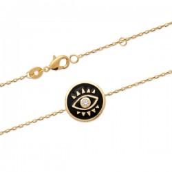 Bracelet Plaqué Or 18 carats œil émail noir et zirconium