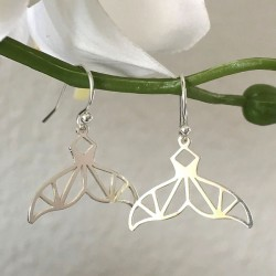Boucles d'oreilles pendantes argent 925/000 queues de baleine origami