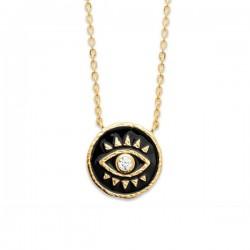 Collier Plaqué Or 18 carats pendentif œil émail noir et zirconium