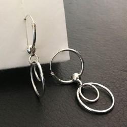 Boucles d'oreilles argent 925 créoles 14 mm pendants double anneaux