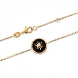 Bracelet Plaqué Or 18 carats petite étoile émail noir