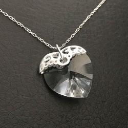 Collier pendentif coeur cristal Swarovski sur fine chaine en argent 925