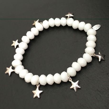 Bracelet perles blanches en cristal pampilles étoiles argent 925/000