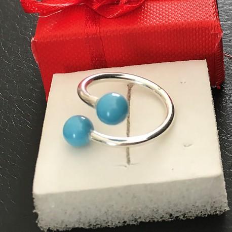 Bague double Argent 925/000 perles nacrée Swarovski turquoise taille 52