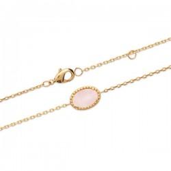 Bracelet quartz rose et plaqué or 18 carats pierre naturelle Bijou nature
