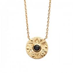 Collier pendentif rond antique en plaqué or 18 carats et pierre noire