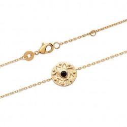 Bracelet Plaqué Or 18 carats motif antique pierre noire centrale