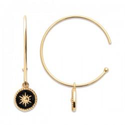 Boucles d'oreilles créoles Plaqué Or 18 carats étoiles émail noir