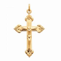 Pendentif Jésus sur la croix en plaqué or 18 carats hauteur 40 mm
