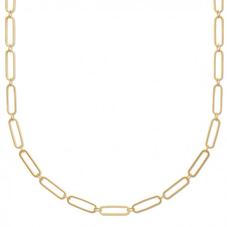 Collier maille rectangle en plaqué or 18 carats