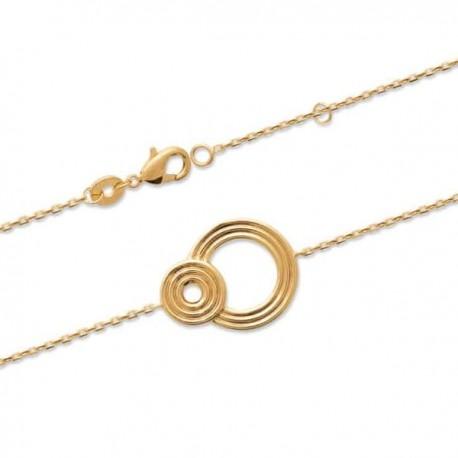 Bracelet cercles anneaux Plaqué Or 18 carats Bijou tendance