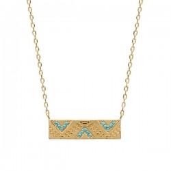 Collier pendentif ethnique Plaqué Or 18 carats pierres couleur turquoise