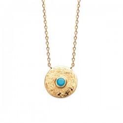 Collier Plaqué Or 18 carats pierre de couleur turquoise