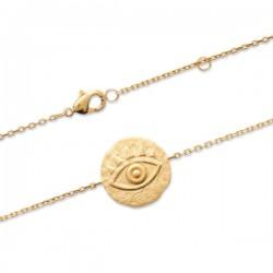 Bracelet œil en Plaqué Or 18 carats style antique