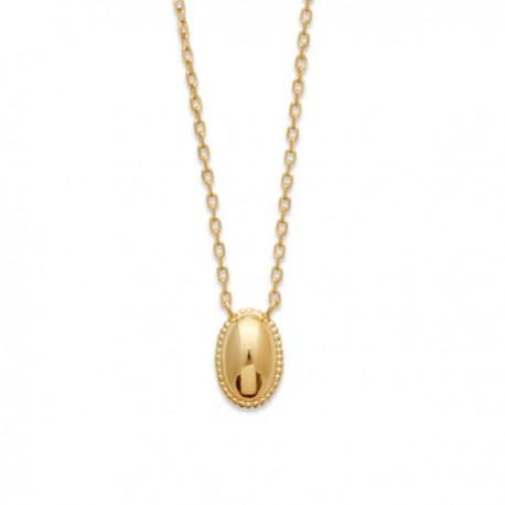 Collier Plaqué Or 18 carats pendentif ovale raffiné