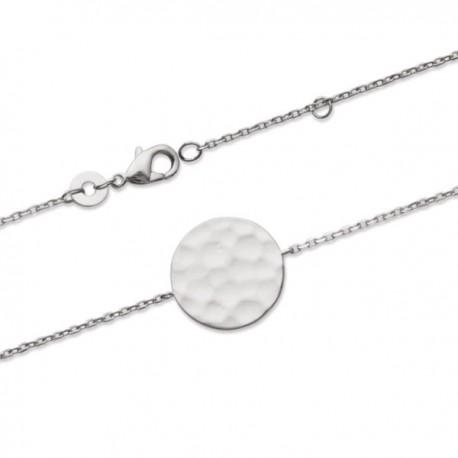 Bracelet argent massif 925/000 rhodié rond effet martelé
