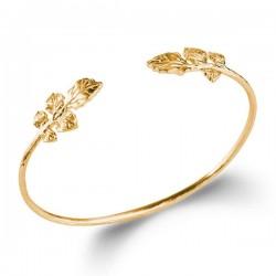 Bracelet jonc Plaqué Or 18 carats motifs feuilles